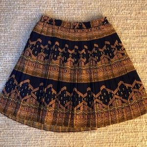 Anthropologie Printed Pleated Skirt